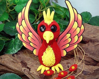 Polymer Clay Baby Phoenix Dragon Sculpture Fantasy Home Decor Statue and Collectibles