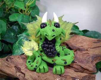 Polymer Clay Blackberry Butterfly Dragon Sculpture Fantasy Home Decor Statue and Collectibles