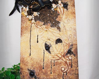"""Original Mixed Media 12x24"""" Dark Beauty Elegant Venetian Mask Themed Collage Assemblage Art Stretched Canvas Home decor wall hanging"""