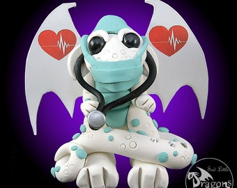 Polymer Clay Doctor Dragon Sculpture Fantasy Home Decor Statue and Collectibles