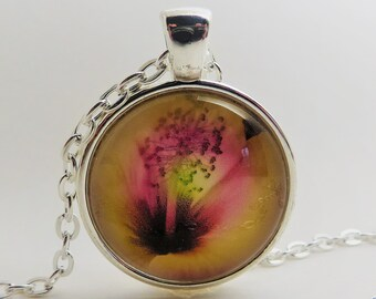 Pink yellow flower made in watercolor ...1 inch Pendant, silver tone, necklace, 24 inch rolo chain, gift for her
