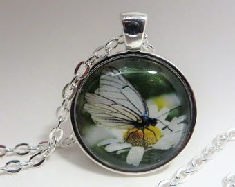 Daisy Flower, Butterfly, 1 inch Pendant, Necklace, silver tone, gift for her, 24 inch  Rolo chain,