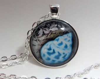Blue Seashell, Pendant, Necklace, silver tone, Beach, gift for her, 24 inch rolo chain