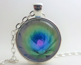 """Blue purple flower cactus in watercolor ...1"""" Pendant, Necklace, silver tone, 24 inch rolo chain, gift for her"""