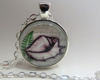 White seashell with green leaf, 1 inch Pendant, Necklace, silver tone, 24 inch rolo chain, beach