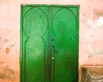 Photograph Old Weathered Moroccan Emerald Green Door against a Coral Peach Wall Travel Art Print Home Decor