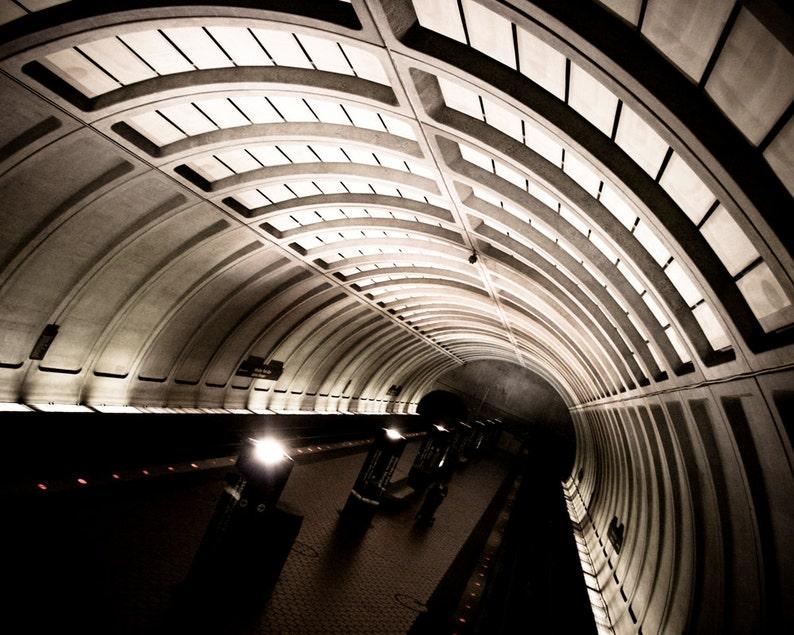 Photograph Black and White Washington DC Underground Metro image 0