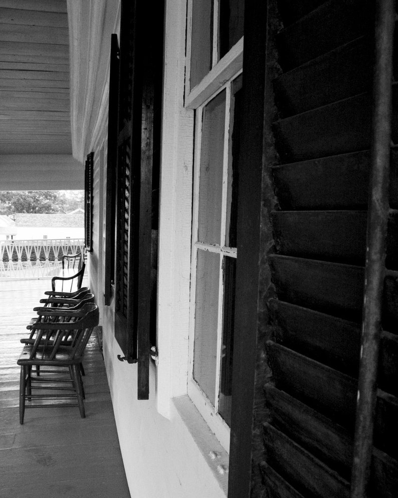 Photograph Black and White Front Porch Wood Window Shutters image 0