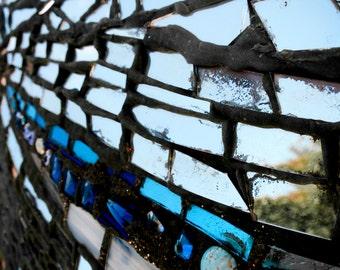 Photograph Abstract Cobalt Sapphire Blue Tile and Reflective Mirror Geometric Mosaic USA Travel Vertical Baltimore Art Print Home Decor