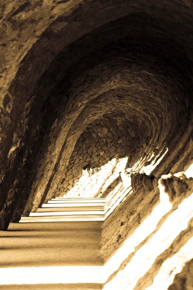 Photograph Antoni Gaudi's Sun Lit Sepia Spanish Stone image 0