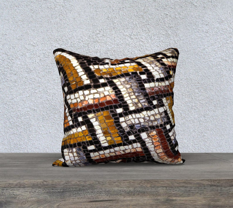 Throw Pillow Double Sided Mosaic Tile Entwined Roman Pattern image 0