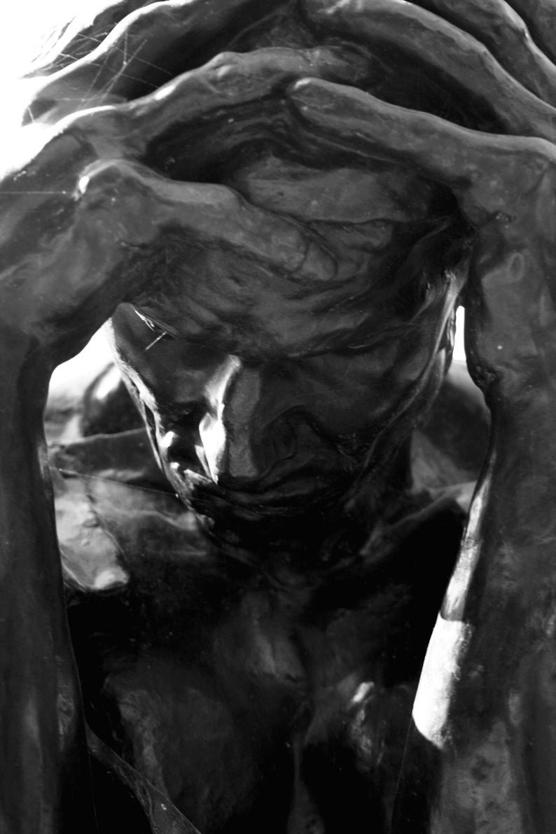 Photograph Black and White Rodin Sculpture of a Man his Head image 0