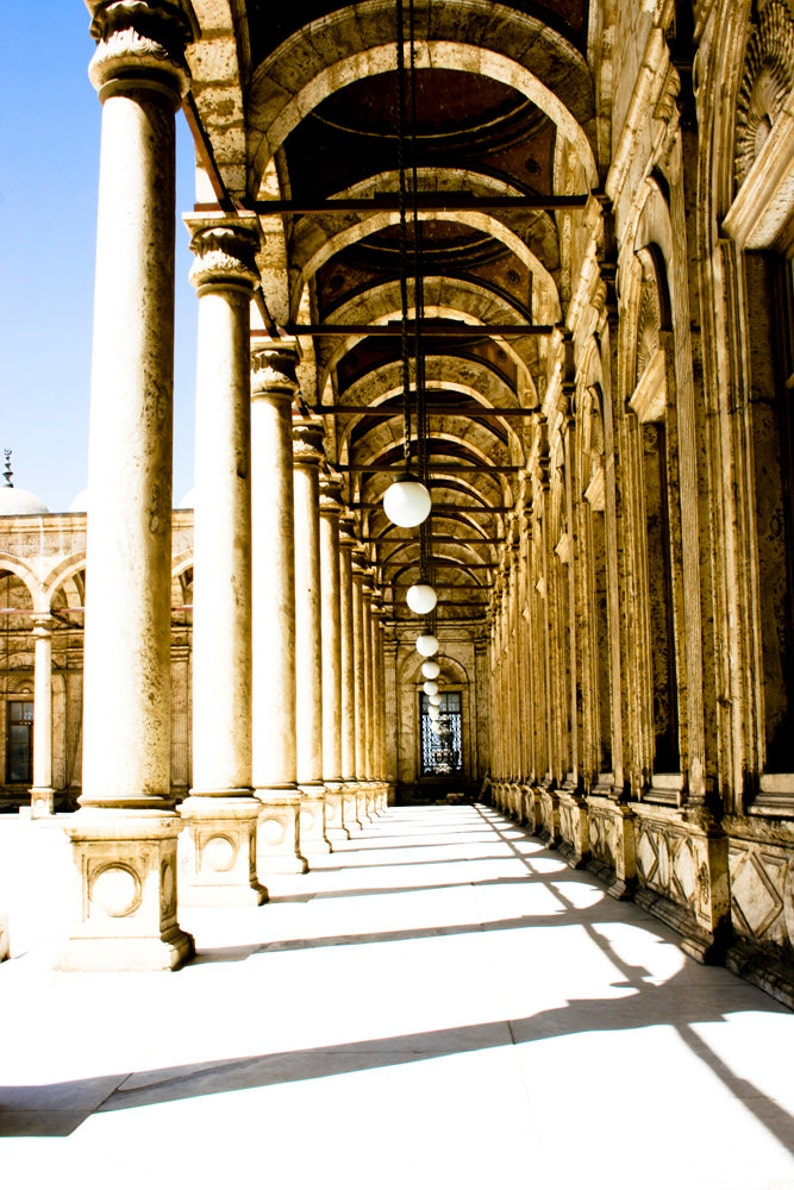 Photograph Pillar Column Arch Lined Walkway in Cairo Egypt image 0
