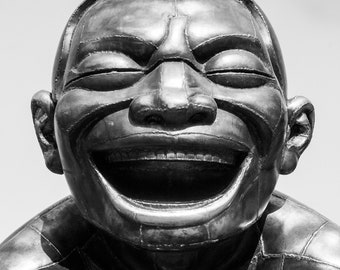 Photograph Black and White Bronze Sculpture of Laughing Mans Face Vancouver Canada by Yue Minjun Vertical Art Print Wall Hanging Home Decor