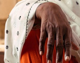 Photograph Portrait Study Dark Chocolate Brown Womans Hand Bright Burnt Orange Warm Autumn Hued Anatomy Art Print Statement Home Decor