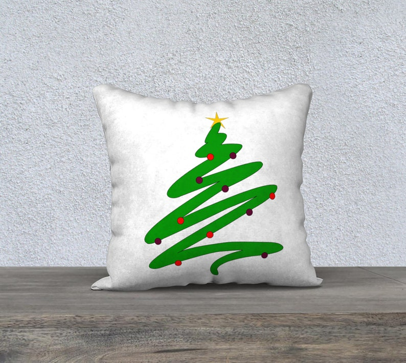 Throw Pillow Double Sided Minimalist Green Doodle Christmas image 0