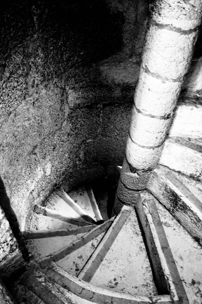 Photograph Black and White Portuguese Spiral Steps Staircase image 0