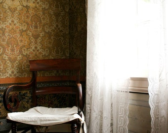 Photograph of an Empty Antique Wooden Chair in an Empty Wall Paper Vintage Room with Lace Curtains Haunting Vertical Art Print Home Decor