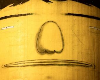 Photograph Vancouver Granville Island Urban Street Art Yellow Man Face Up Close Facial Features Horizontal Art Print Home Decor