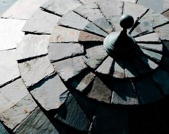 Photograph Shades of Gray Monochromatic Massachusetts Circular Spherical Stone Sundial Sculpture Abstract Horizontal Art Print Home Decor