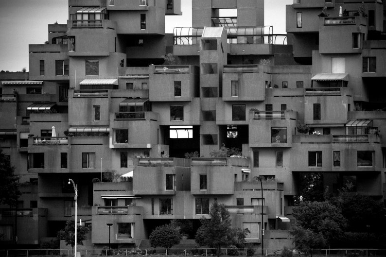 Photograph Habitat 67 Black and White Montreal Apartment image 0
