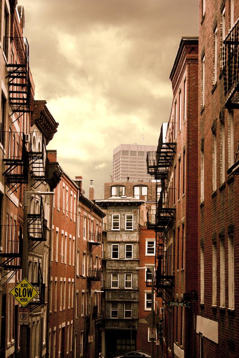 Photograph Boston Beacon Hill Neighborhood Red Brick Buildings image 0