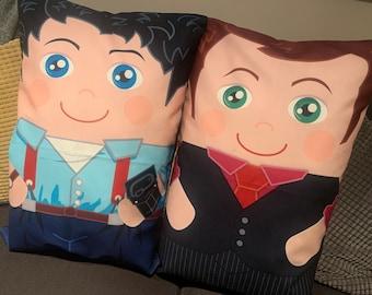 Jack and Ianto  'Hero Hugger' Decorative Pillowcase Custom Design Double Set!
