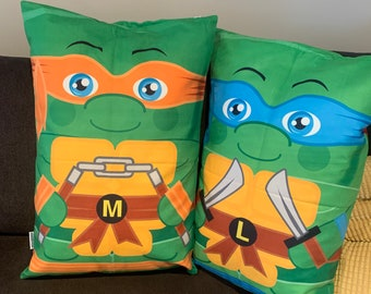Ninja Turtles Double Sided  Set Character Pillow Cases 16x 24 UNIQUE