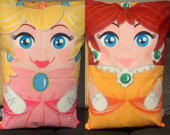 Princess Peach & Princess Daisy  'Hero Hugger' Decorative Pillowcase Custom Design Double Sided design