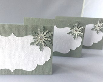 Snowflake Place Cards, Winter Wonderland Food Labels, Winter Onederland Labels, Snowflake Baby Shower, Snowflake Buffet Cards, Winter Party