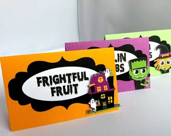 Halloween Food Labels, Halloween Birthday Party Food Tent Cards, Frankenstein Party Decoration, Haunted House Place Cards, Witch, Set of 10