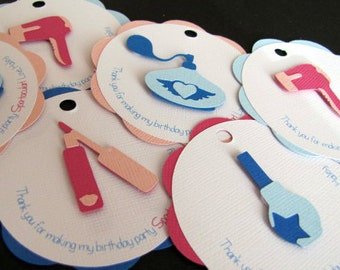 Spa Party Favor Tags, Spa Birthday Party, Make Up Party Favor Tags, Girl Spa Birthday Party, Spa Favor Tags, Salon Birthday Party, Set of 12