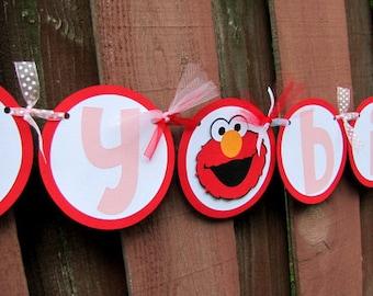 Elmo Party Banner, Elmo Birthday Party Banner, Elmo Girl Birthday Banner, Elmo Banner, Sesame Street Banner, Elmo 1st Birthday, Elmo Party
