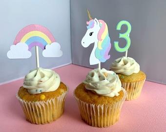 Rainbow Unicorn Cupcake Toppers, Unicorn Birthday Party Decoration, Pastel Rainbow Cupcake Picks, Set of 12