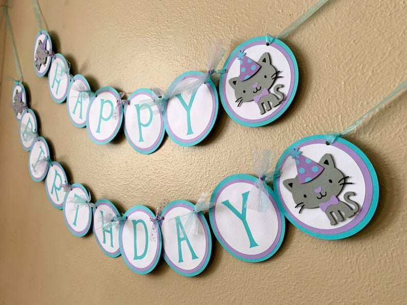Kitty Cat Party Decoration Cat Birthday Banner Party Animal Kitten Sign
