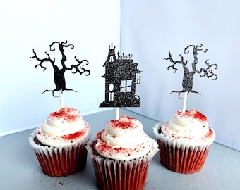 Haunted House Cupcake Toppers, Halloween Birthday Party Decoration, Spooky Tree Cupcake Picks, Set of 12