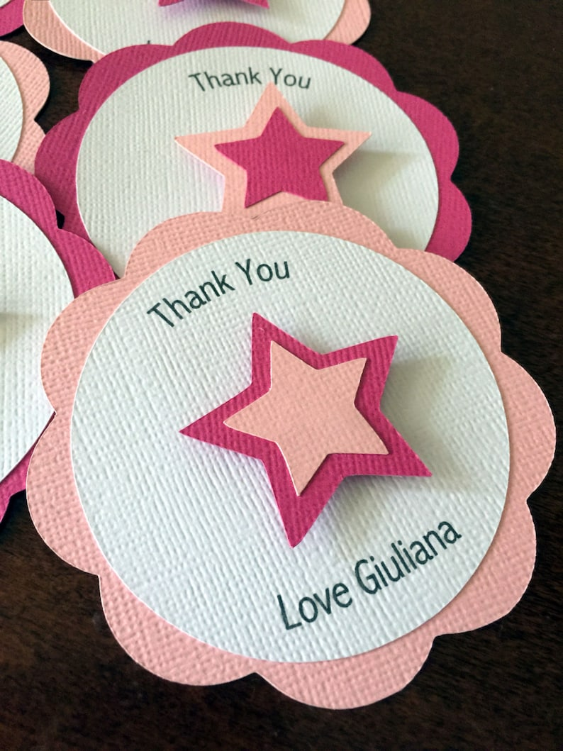 American Favor Tag Pink Star Favor Tag Girl Doll Party Favor Star Party Favor Tag Girl Birthday Party Set of 12 Personalized Favor Tag