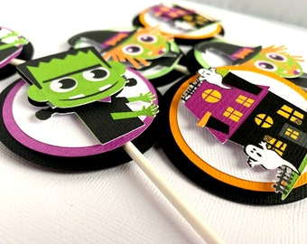 Halloween Cupcake Toppers, Halloween Birthday Party Decoration, Frankenstein Cupcake Picks, Haunted House, Witch, Set of 12
