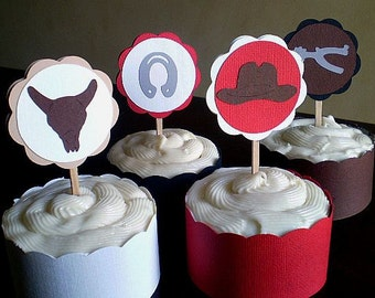 Cowboy Party Cupcake Toppers, Cowboy Birthday Decoration, Boy Cowboy Party, Cowboy 1st Birthday, Western Party Cupcake Toppers, Set of 12