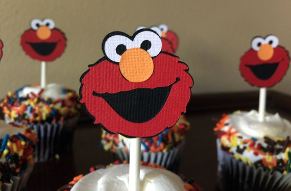 Elmo Party Cupcake Toppers Birthday Baby