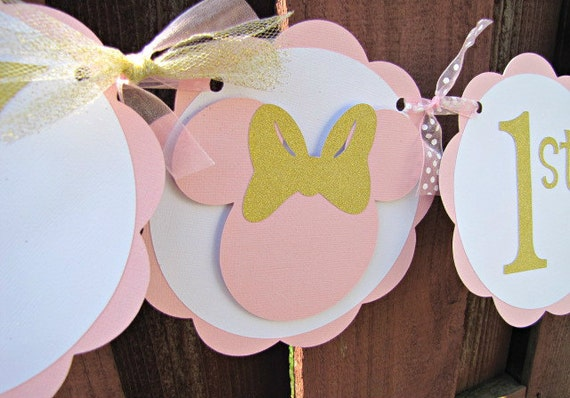 Minnie Mouse Party Banner 1st Birthday Pink And Gold Baby Shower
