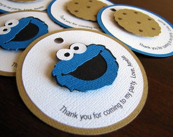 Cookie Monster Favor Tags, Personalized Cookie Monster Tags, Sesame Street Favor Tag, Cookie Monster 1st Birthday Party, Set of 12