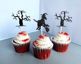 Halloween Witch Cupcake Toppers, Spook Tree Cupcake Picks, Halloween Birthday Party Decoration, Set of 12
