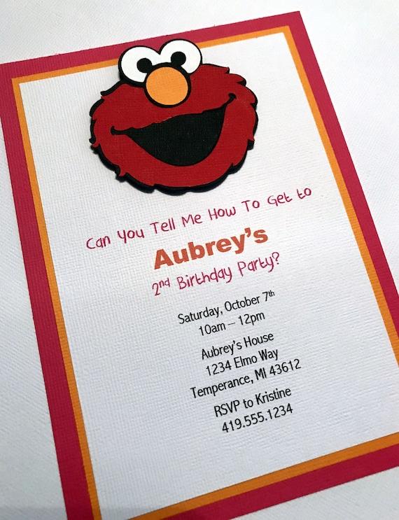 Elmo Party Invitations Girl Invitation Birthday Sesame Street 1st Set Of 12