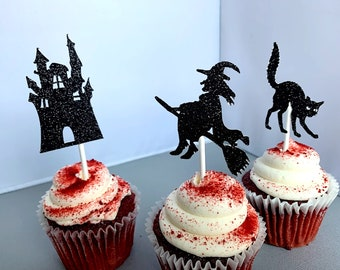 Witch Cupcake Toppers, Halloween Party Decoration, Haunted House, Black Cat Cupcake Picks, Set of 12