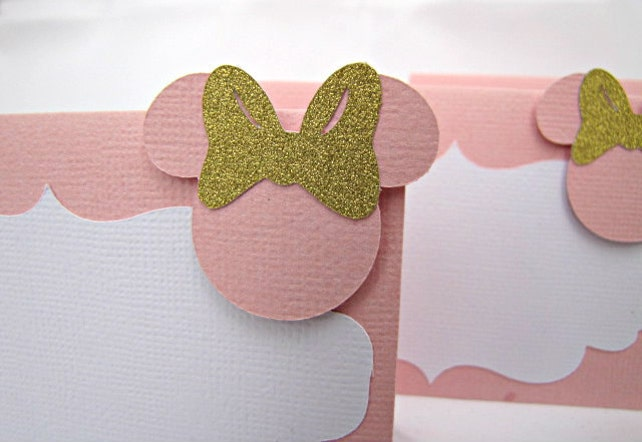 Minnie Mouse Place Cards Food Labels Buffet Baby Shower Party Pink And Gold