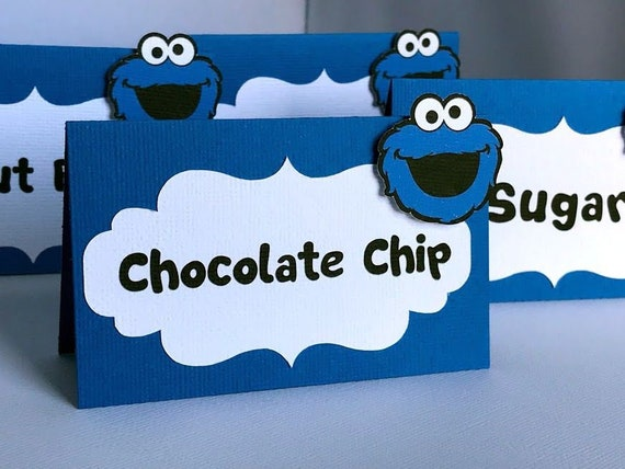 Cookie Monster Food Labels Cookie Monster Party Decoration Cookie Monster Place Cards Sesame Street Birthday Party Cookie Monster Shower