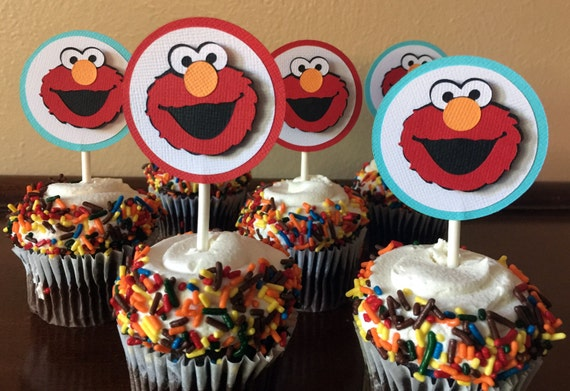 Elmo Party Cupcake Toppers Birthday 1st