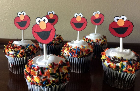 Elmo Party Cupcake Toppers Birthday Baby Shower 1st Topper Sesame Street Set Of 12
