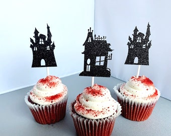 Haunted House Cupcake Toppers, Halloween Birthday Party Cupcake Picks, Halloween Decoration, Set of 12